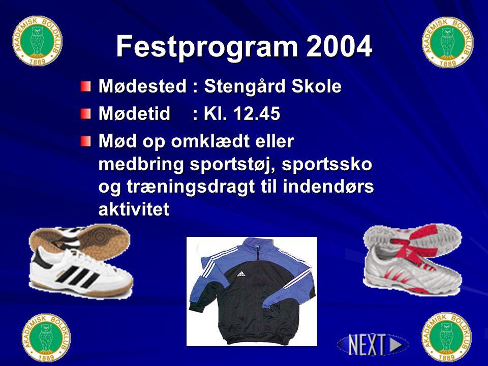 Indbydelse til Fodboldfest 2004 Lørdag d. 13.11.04