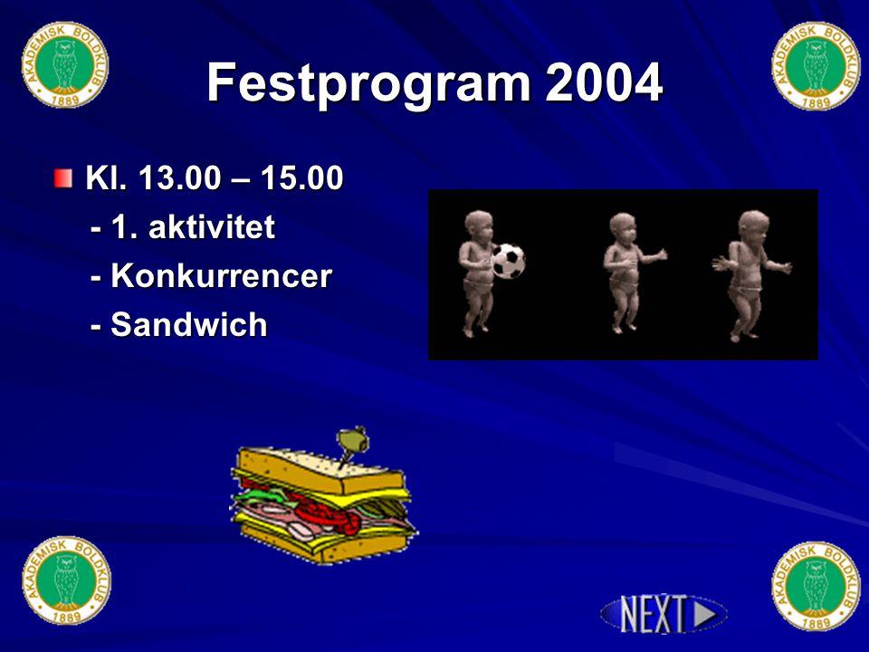 Festprogram 2004 Mødested : Stengård Skole Mødetid : Kl.