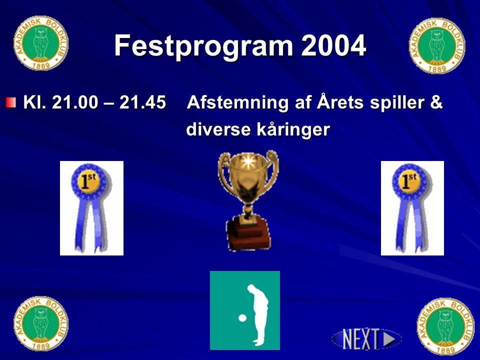 Festprogram 2004 Kl. 20.00 – 00.30 Spisning Fri Øl, vin & vand