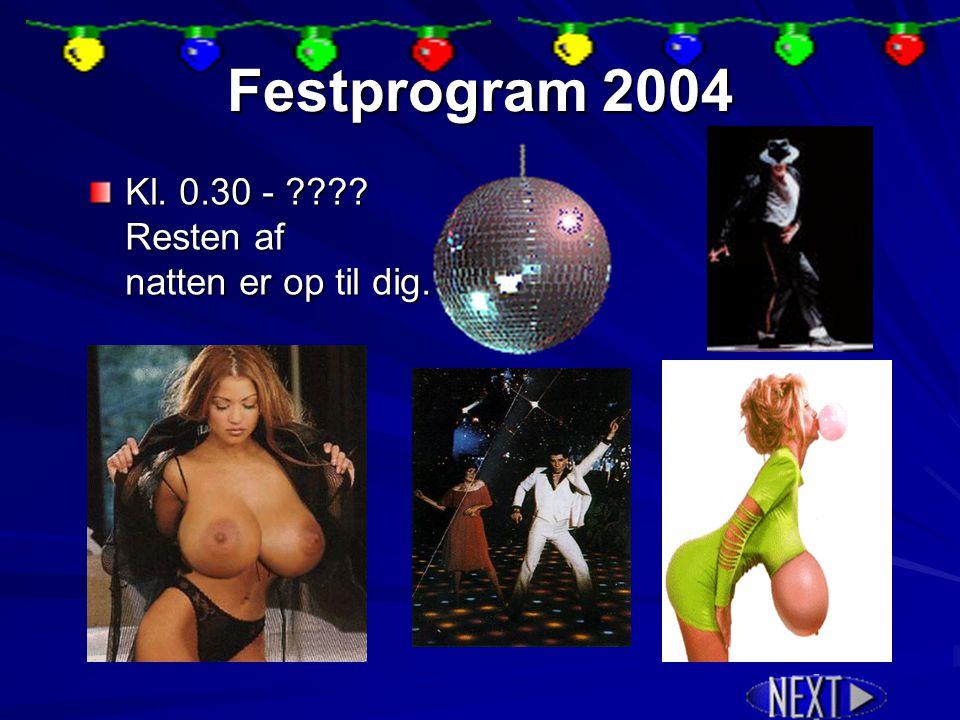 Festprogram 2004 Kl. 21.00 – 21.45 Afstemning af Årets spiller & diverse kåringer diverse kåringer