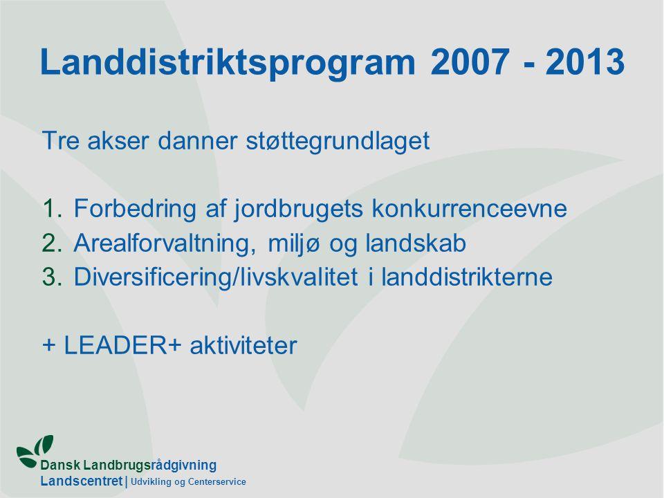 Dansk Landbrugsrådgivning Landscentret | Udvikling og Centerservice Landdistriktsprogram 2007 - 2013 Tre akser danner støttegrundlaget 1.Forbedring af jordbrugets konkurrenceevne 2.Arealforvaltning, miljø og landskab 3.Diversificering/livskvalitet i landdistrikterne + LEADER+ aktiviteter