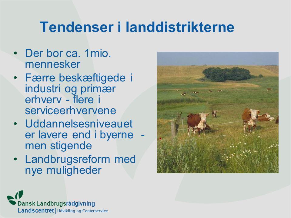 Dansk Landbrugsrådgivning Landscentret | Udvikling og Centerservice Tendenser i landdistrikterne •Der bor ca.