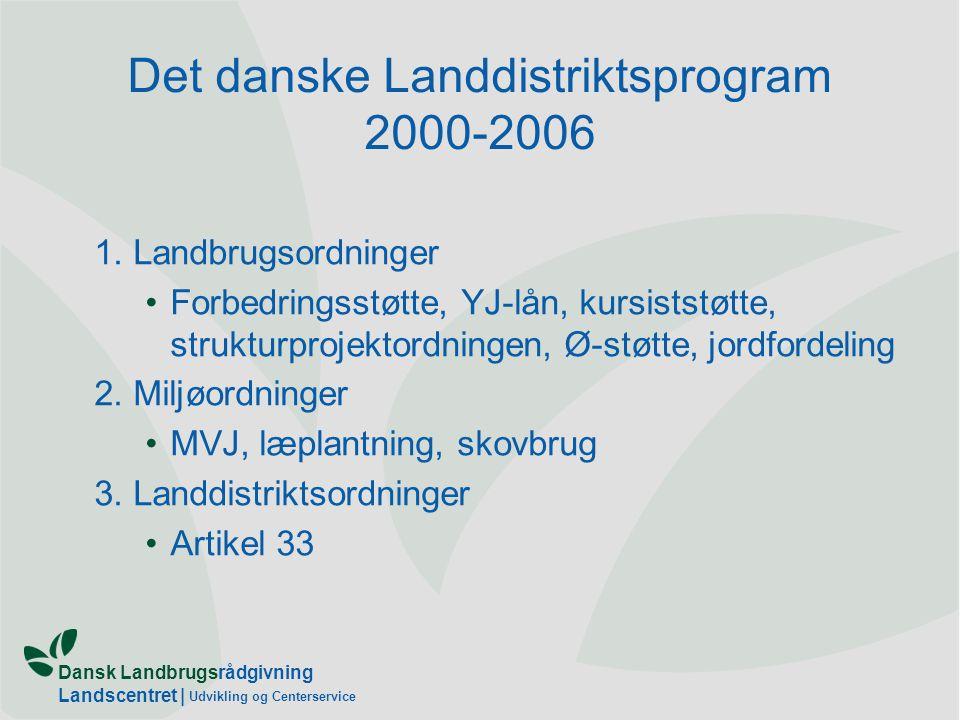 Dansk Landbrugsrådgivning Landscentret | Udvikling og Centerservice Det danske Landdistriktsprogram 2000-2006 1.