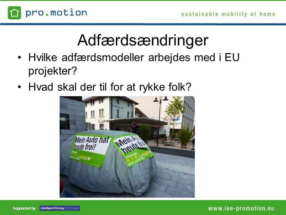 Supported by Adfærdsændringer •Hvilke adfærdsmodeller arbejdes med i EU projekter.