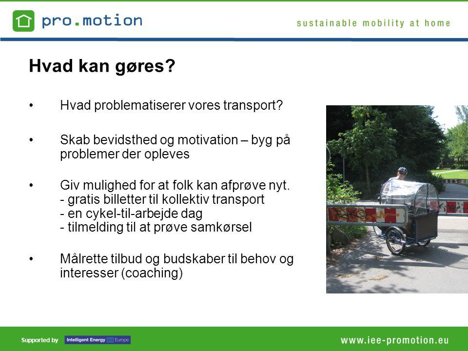 Supported by Hvad kan gøres. •Hvad problematiserer vores transport.