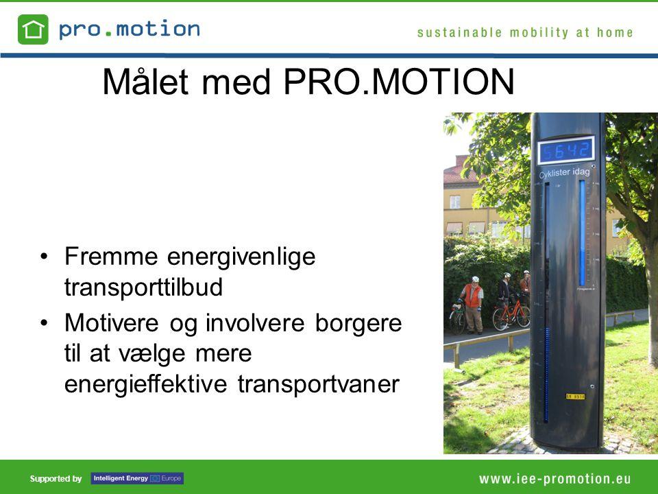Supported by Målet med PRO.MOTION •Fremme energivenlige transporttilbud •Motivere og involvere borgere til at vælge mere energieffektive transportvaner