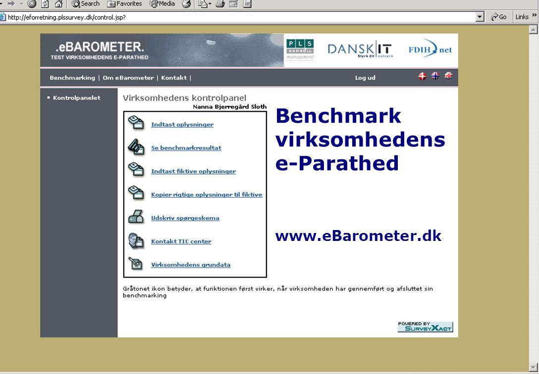 Udfordringer Benchmark virksomhedens e-Parathed www.eBarometer.dk