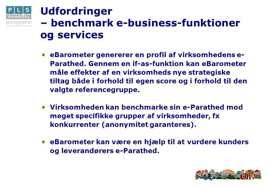 Udfordringer – benchmark e-business-funktioner og services eBarometer genererer en profil af virksomhedens e- Parathed.