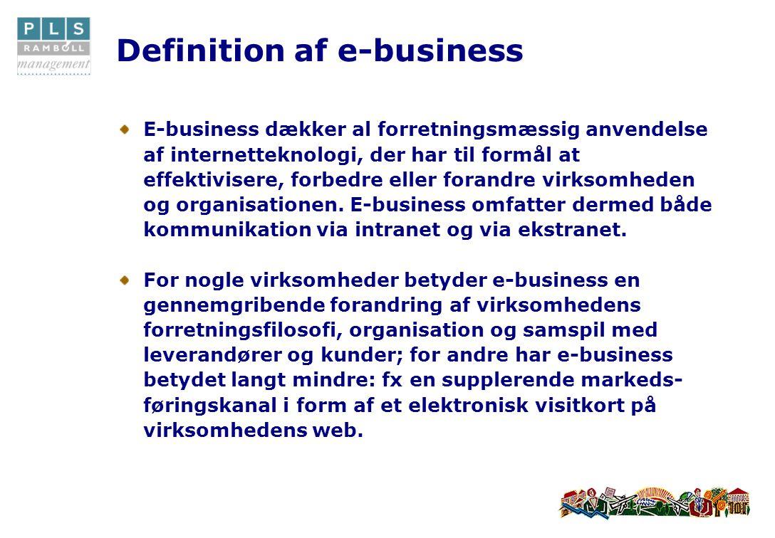 Definition af e-business E-business dækker al forretningsmæssig anvendelse af internetteknologi, der har til formål at effektivisere, forbedre eller forandre virksomheden og organisationen.