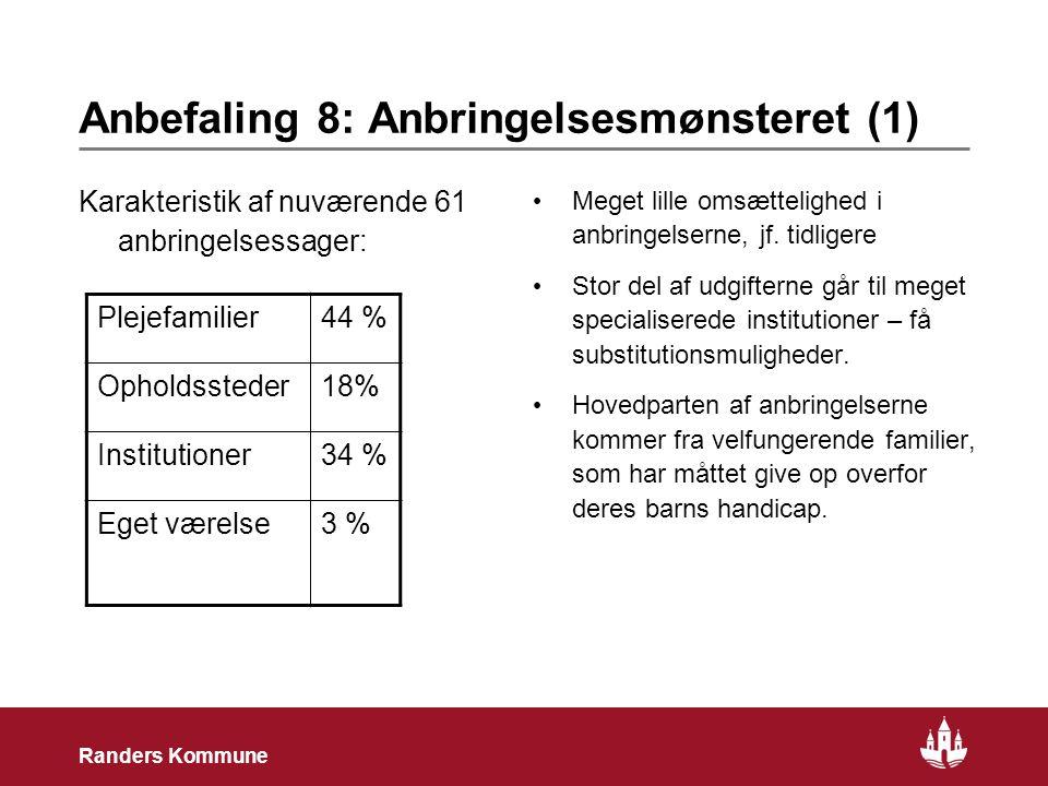 18 Randers Kommune Anbefaling 8: Anbringelsesmønsteret (1) Karakteristik af nuværende 61 anbringelsessager: • Meget lille omsættelighed i anbringelserne, jf.