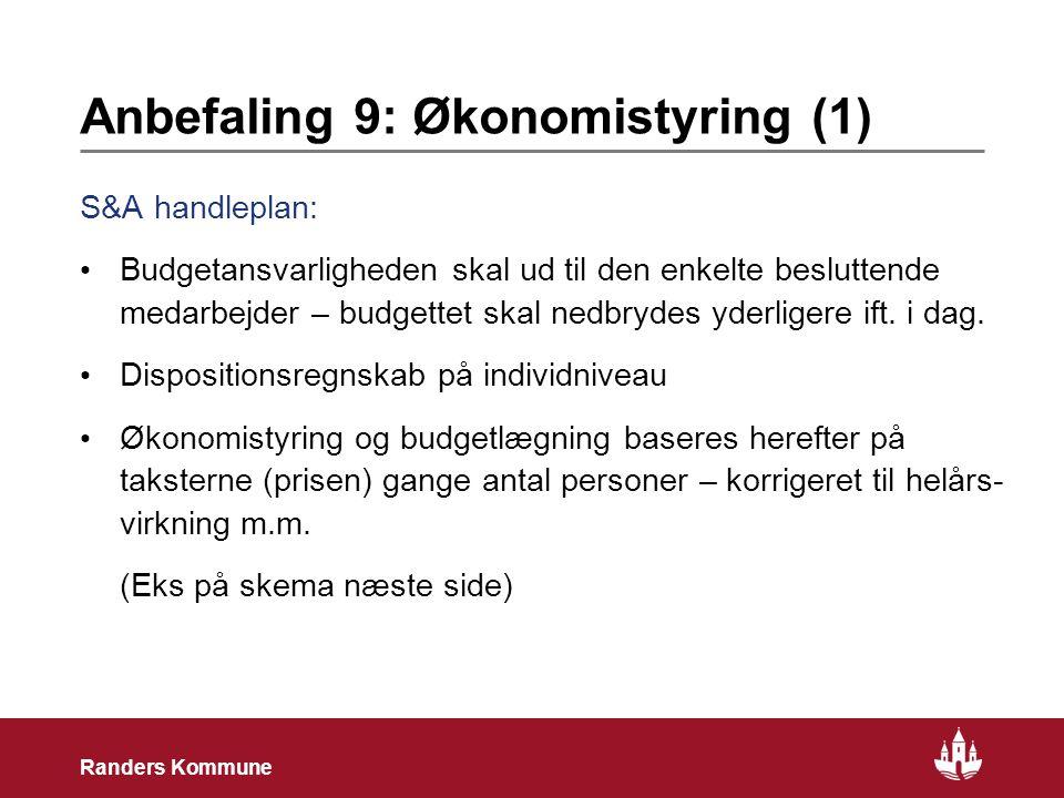 21 Randers Kommune Anbefaling 9: Økonomistyring (1) S&A handleplan: • Budgetansvarligheden skal ud til den enkelte besluttende medarbejder – budgettet skal nedbrydes yderligere ift.