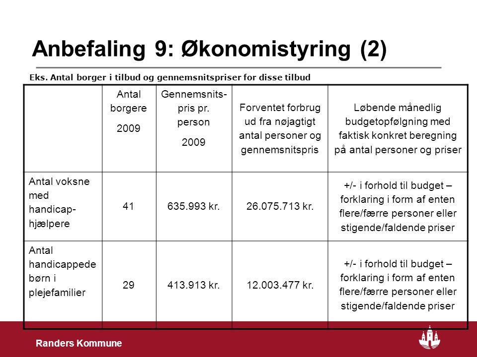 22 Randers Kommune Anbefaling 9: Økonomistyring (2) Antal borgere 2009 Gennemsnits- pris pr.