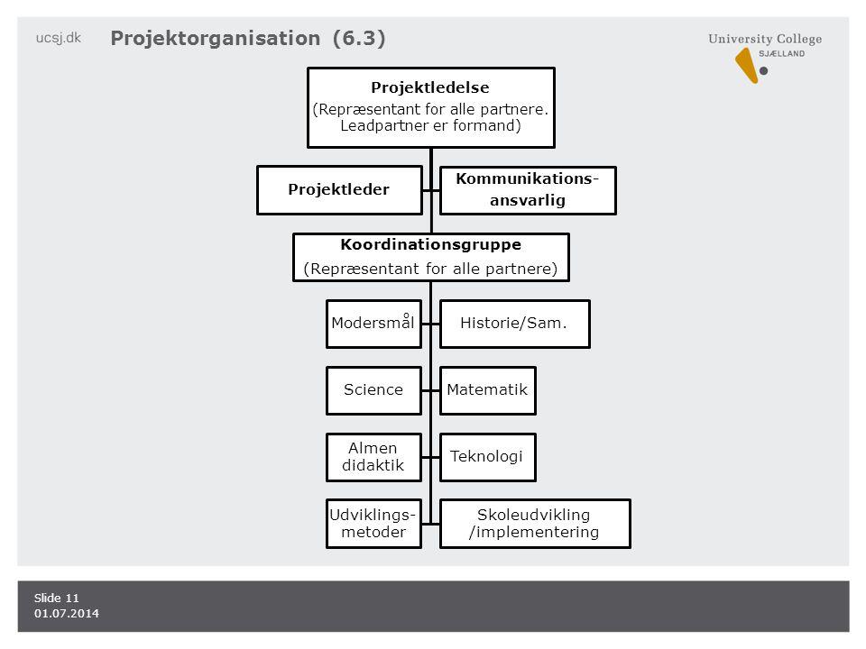 Projektorganisation (6.3) 01.07.2014 Slide 11 Projektledelse (Repræsentant for alle partnere.