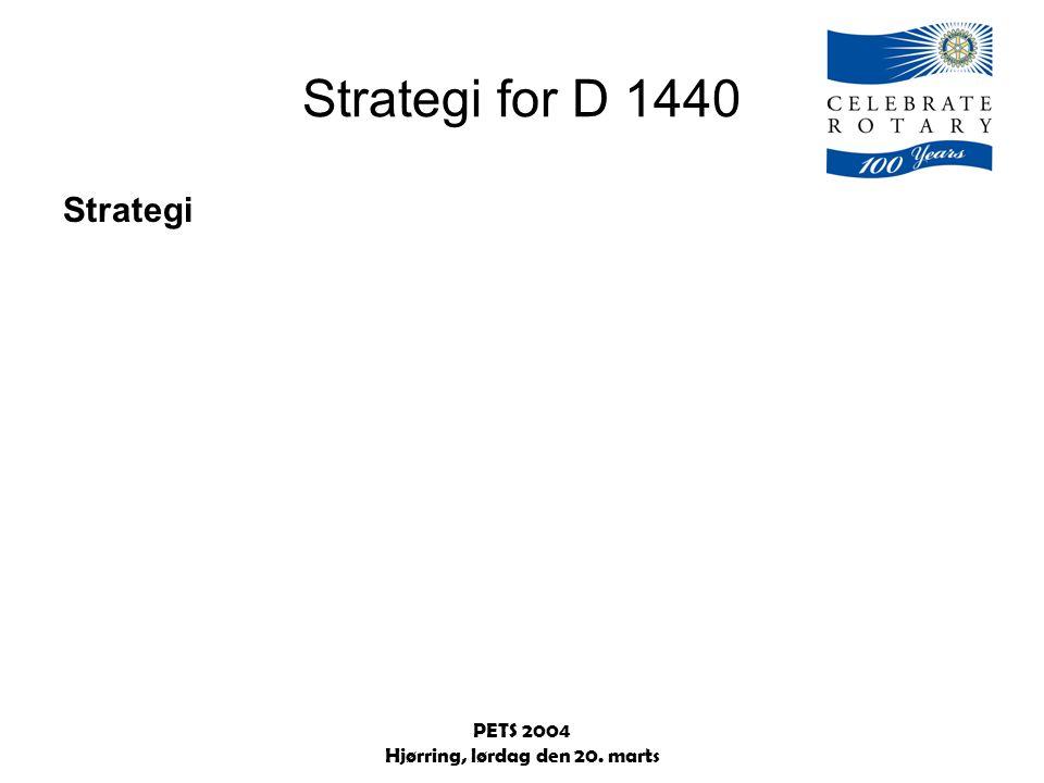 PETS 2004 Hjørring, lørdag den 20. marts Strategi for D 1440 Strategi