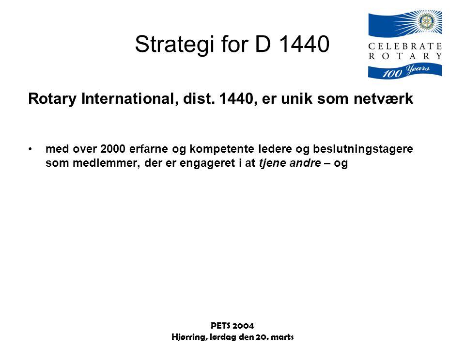 PETS 2004 Hjørring, lørdag den 20. marts Strategi for D 1440 Rotary International, dist.