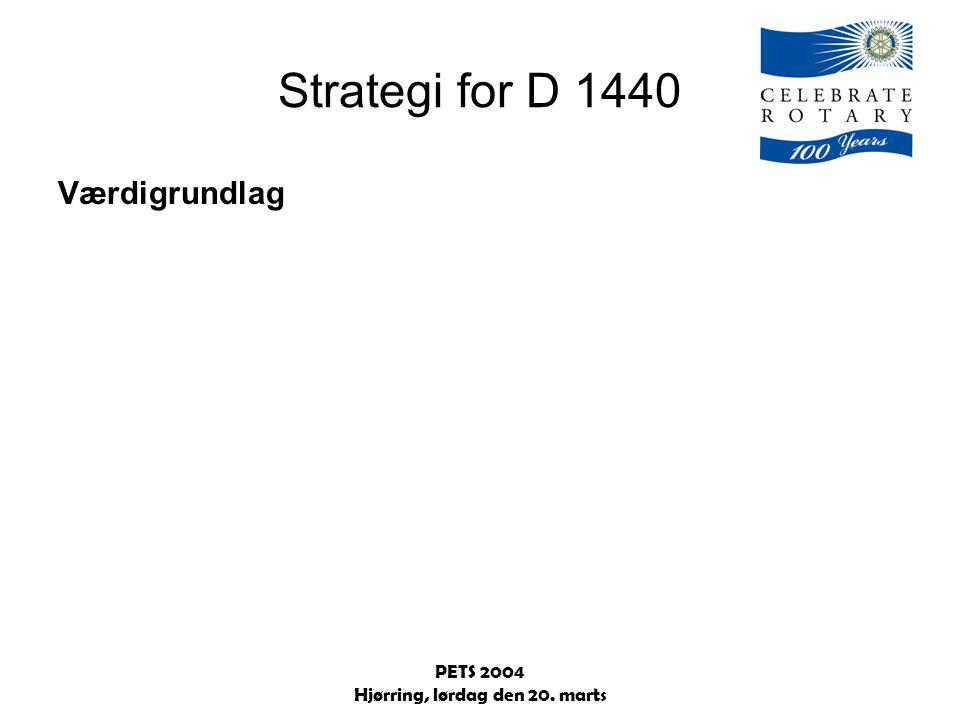 PETS 2004 Hjørring, lørdag den 20. marts Strategi for D 1440 Værdigrundlag