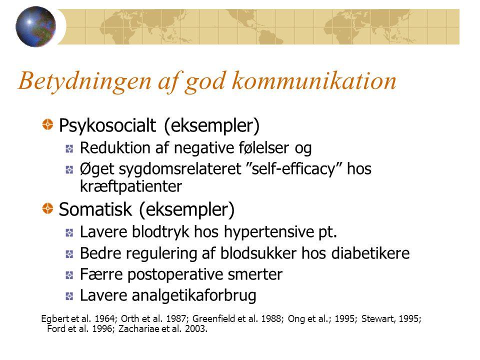 Betydningen af god kommunikation Psykosocialt (eksempler) Reduktion af negative følelser og Øget sygdomsrelateret self-efficacy hos kræftpatienter Somatisk (eksempler) Lavere blodtryk hos hypertensive pt.