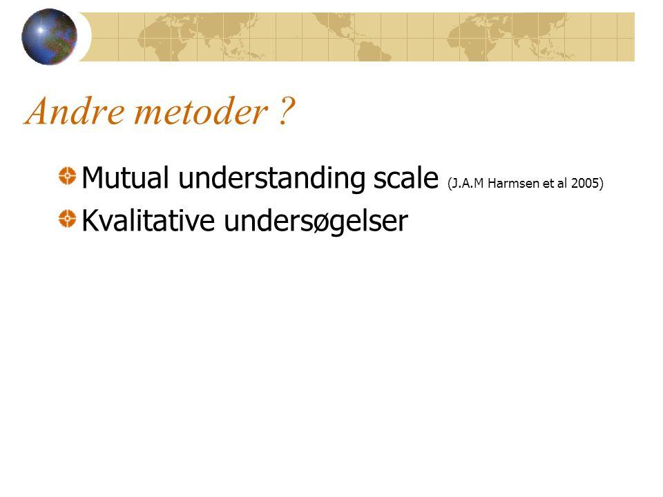 Andre metoder Mutual understanding scale (J.A.M Harmsen et al 2005) Kvalitative undersøgelser