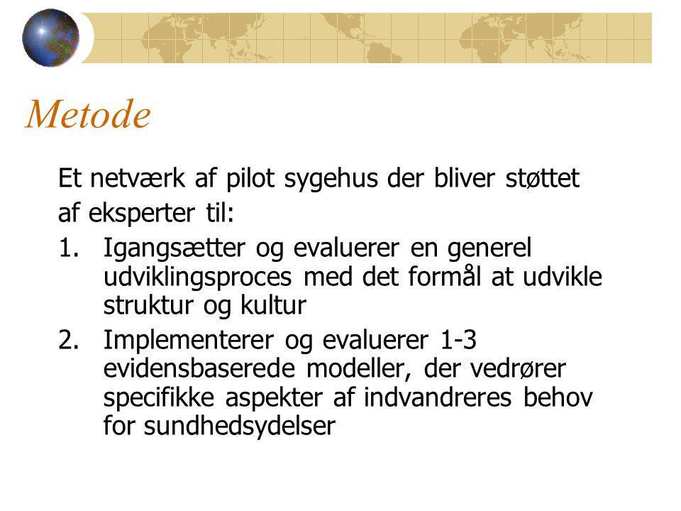 Metode Et netværk af pilot sygehus der bliver støttet af eksperter til: 1.Igangsætter og evaluerer en generel udviklingsproces med det formål at udvikle struktur og kultur 2.Implementerer og evaluerer 1-3 evidensbaserede modeller, der vedrører specifikke aspekter af indvandreres behov for sundhedsydelser