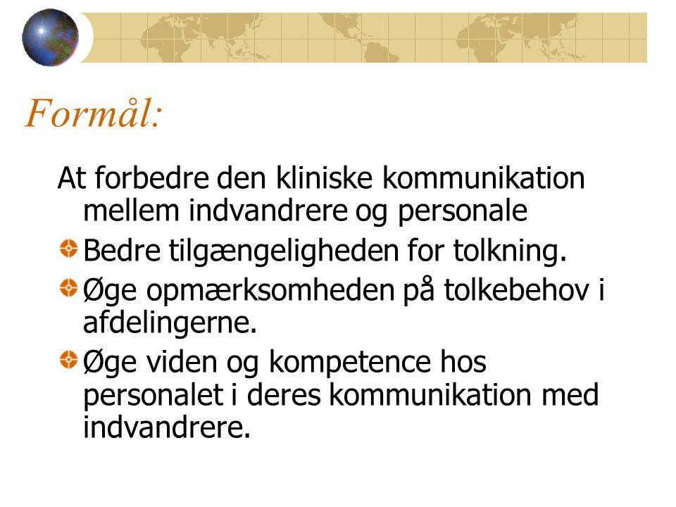 Formål: At forbedre den kliniske kommunikation mellem indvandrere og personale Bedre tilgængeligheden for tolkning.
