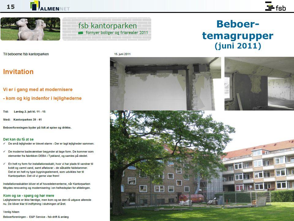 15 Beboer- temagrupper (juni 2011)