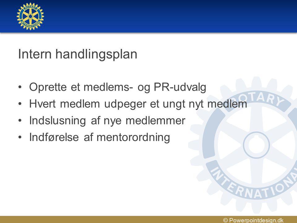 © Powerpointdesign.dk Intern handlingsplan •Oprette et medlems- og PR-udvalg •Hvert medlem udpeger et ungt nyt medlem •Indslusning af nye medlemmer •Indførelse af mentorordning