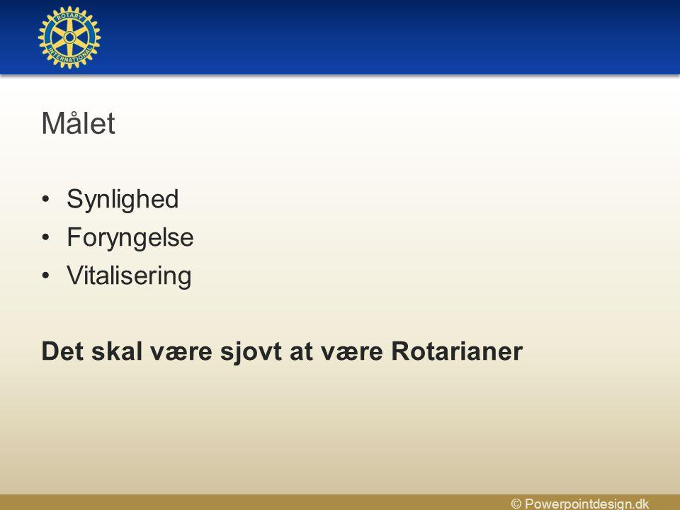 © Powerpointdesign.dk Målet •Synlighed •Foryngelse •Vitalisering Det skal være sjovt at være Rotarianer
