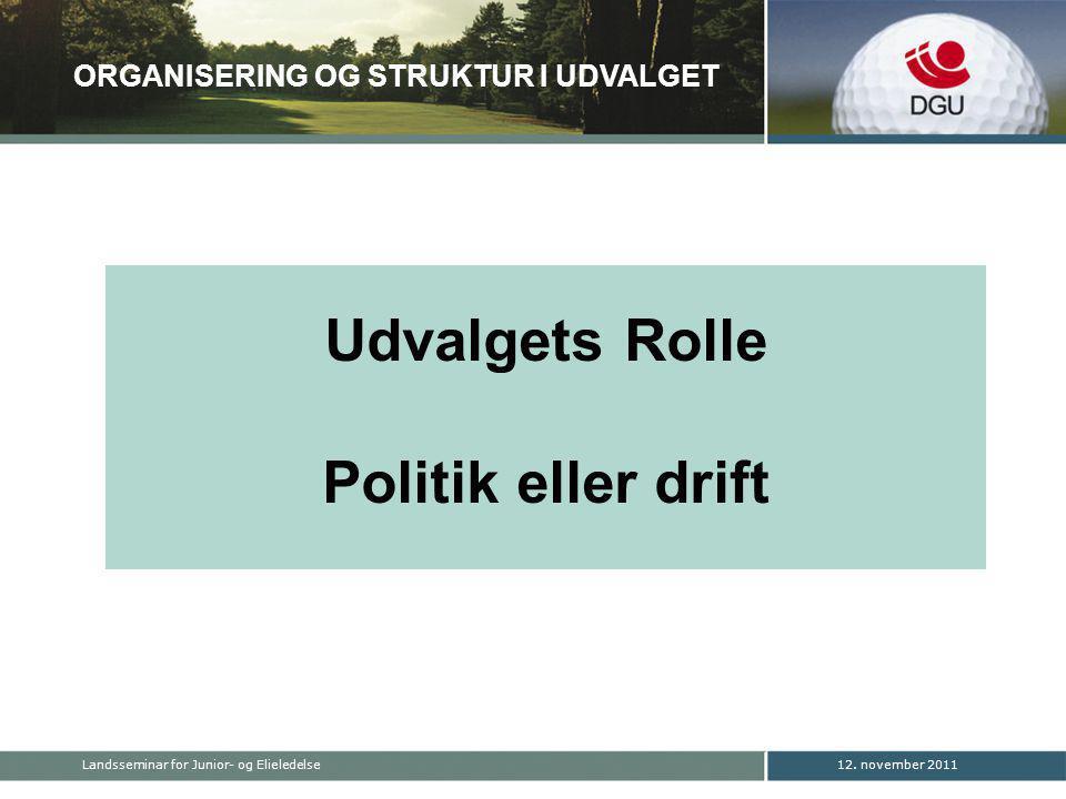Udvalgets Rolle Politik eller drift ORGANISERING OG STRUKTUR I UDVALGET 12.