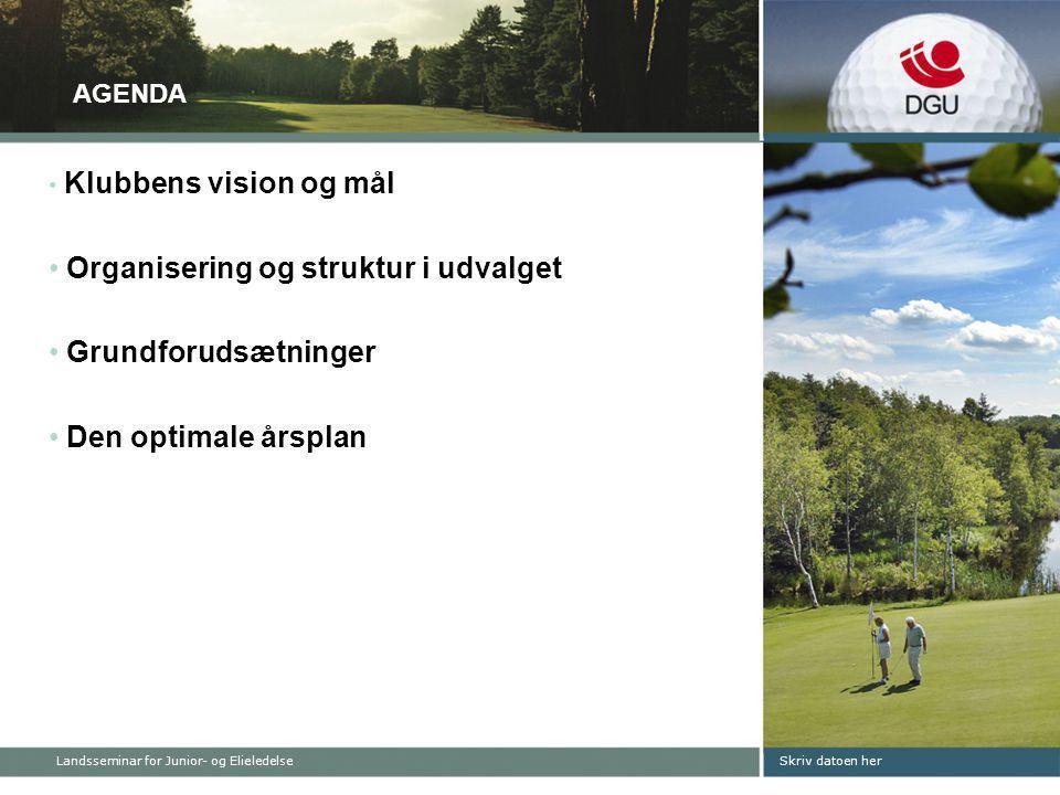Skriv datoen her AGENDA • Klubbens vision og mål • Organisering og struktur i udvalget • Grundforudsætninger • Den optimale årsplan Landsseminar for Junior- og Elieledelse