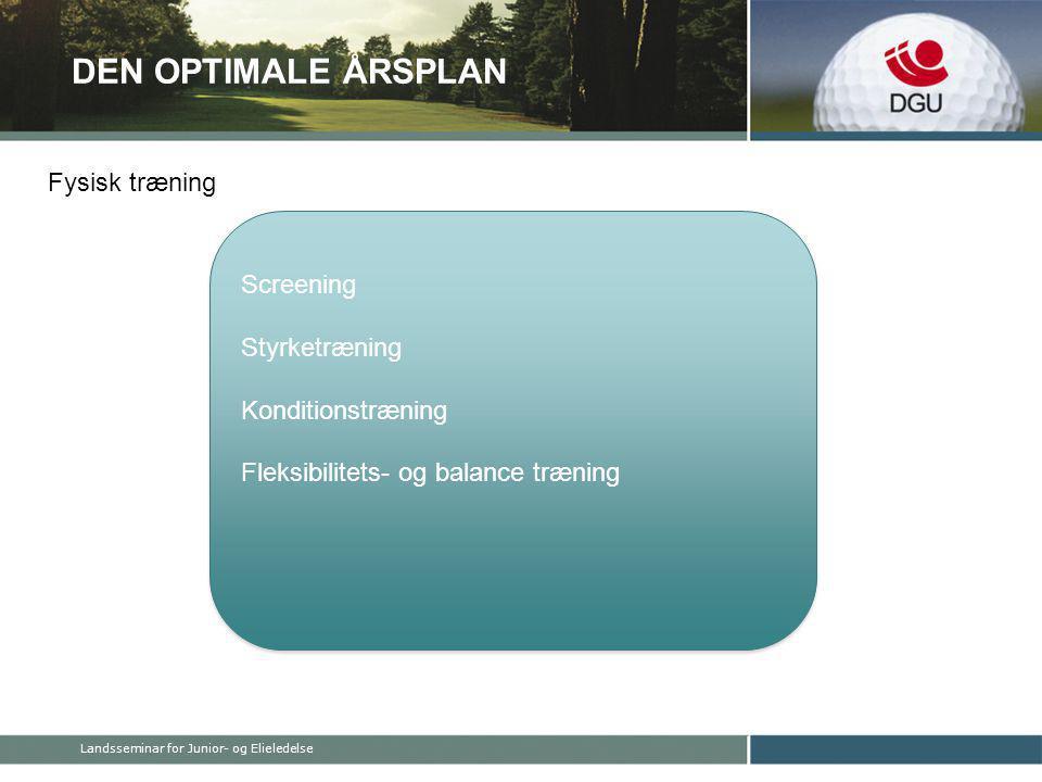 DEN OPTIMALE ÅRSPLAN Screening Styrketræning Konditionstræning Fleksibilitets- og balance træning Screening Styrketræning Konditionstræning Fleksibilitets- og balance træning Fysisk træning Landsseminar for Junior- og Elieledelse