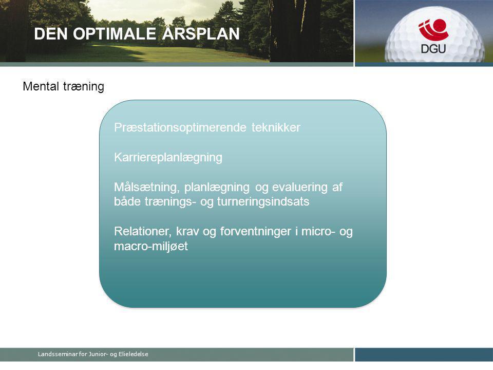 DEN OPTIMALE ÅRSPLAN Præstationsoptimerende teknikker Karriereplanlægning Målsætning, planlægning og evaluering af både trænings- og turneringsindsats Relationer, krav og forventninger i micro- og macro-miljøet Præstationsoptimerende teknikker Karriereplanlægning Målsætning, planlægning og evaluering af både trænings- og turneringsindsats Relationer, krav og forventninger i micro- og macro-miljøet Mental træning Landsseminar for Junior- og Elieledelse