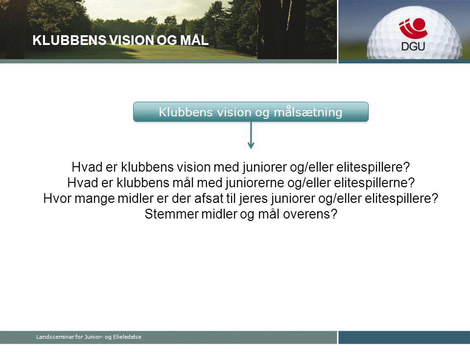 KLUBBENS VISION OG MÅL Hvad er klubbens vision med juniorer og/eller elitespillere.