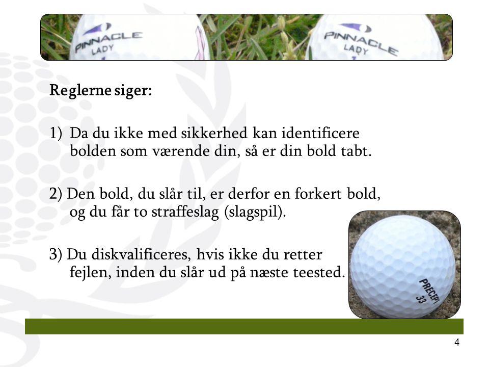 4 Reglerne siger: 1)Da du ikke med sikkerhed kan identificere bolden som værende din, så er din bold tabt.