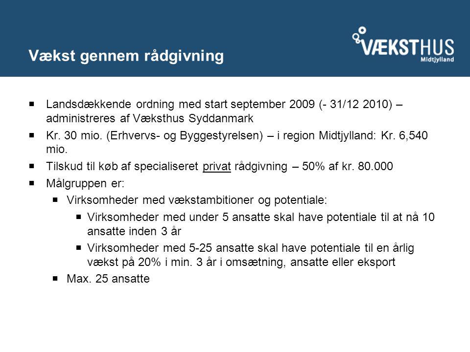 Vækst gennem rådgivning  Landsdækkende ordning med start september 2009 (- 31/12 2010) – administreres af Væksthus Syddanmark  Kr.