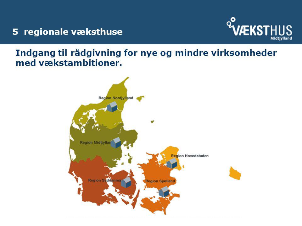 5 regionale væksthuse Indgang til rådgivning for nye og mindre virksomheder med vækstambitioner.