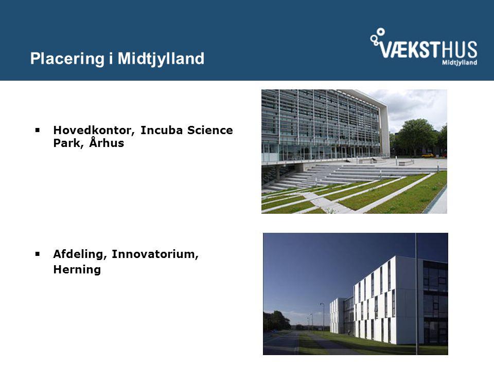 Placering i Midtjylland  Hovedkontor, Incuba Science Park, Århus  Afdeling, Innovatorium, Herning