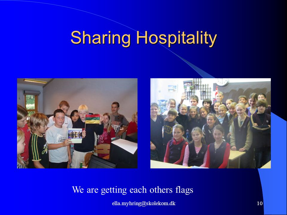 ella.myhring@skolekom.dk10 Sharing Hospitality We are getting each others flags