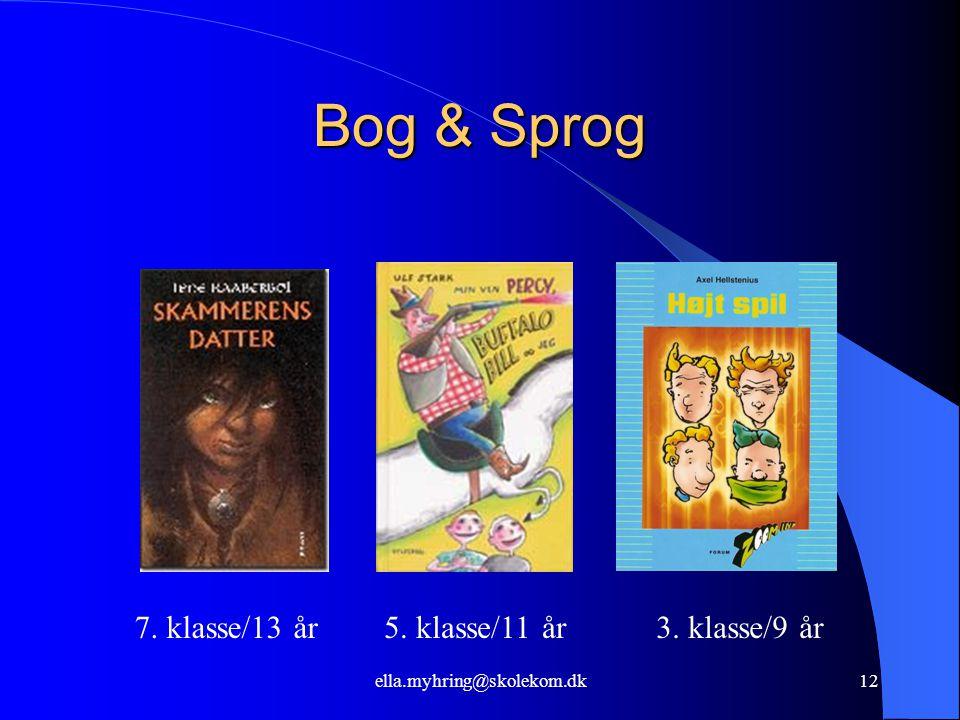 ella.myhring@skolekom.dk12 Bog & Sprog 7. klasse/13 år5. klasse/11 år3. klasse/9 år