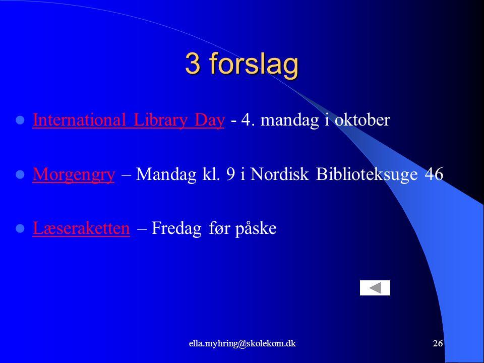 ella.myhring@skolekom.dk26 3 forslag  International Library Day - 4.