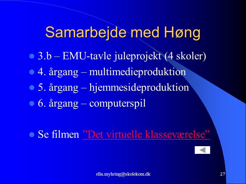 ella.myhring@skolekom.dk27 Samarbejde med Høng  3.b – EMU-tavle juleprojekt (4 skoler)  4.