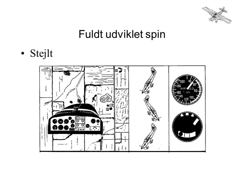 Fuldt udviklet spin •Stejlt