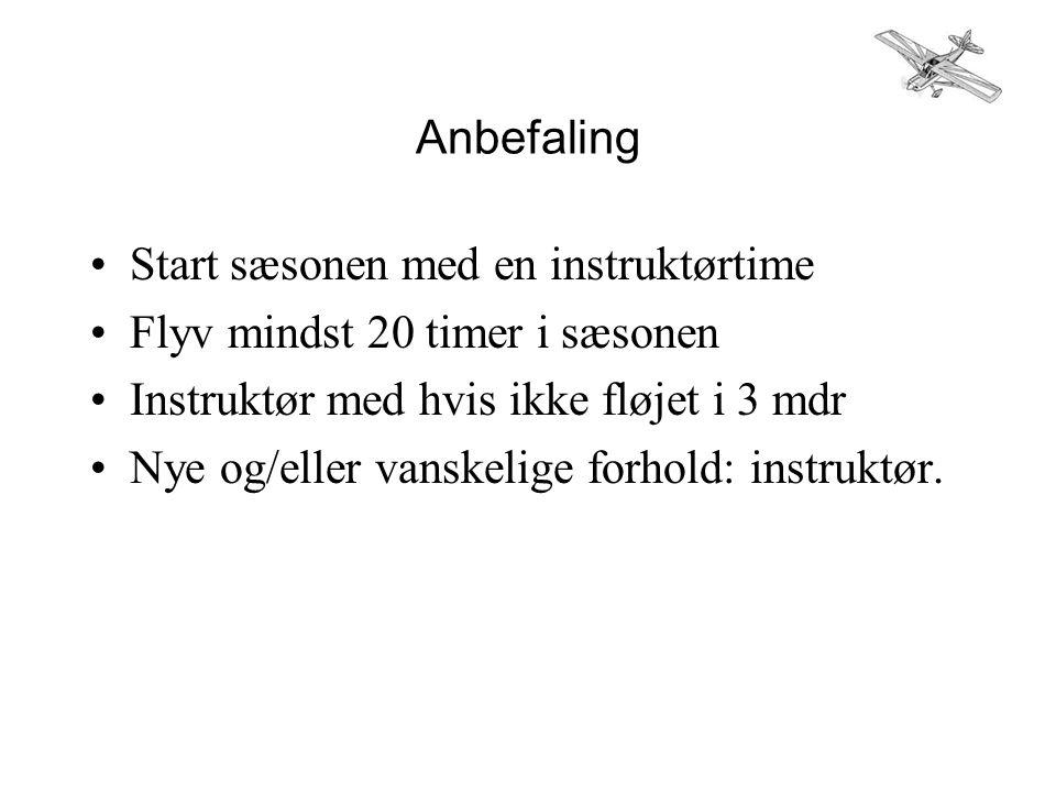 Anbefaling •Start sæsonen med en instruktørtime •Flyv mindst 20 timer i sæsonen •Instruktør med hvis ikke fløjet i 3 mdr •Nye og/eller vanskelige forhold: instruktør.