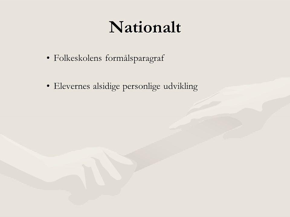 Nationalt •Folkeskolens formålsparagraf •Elevernes alsidige personlige udvikling
