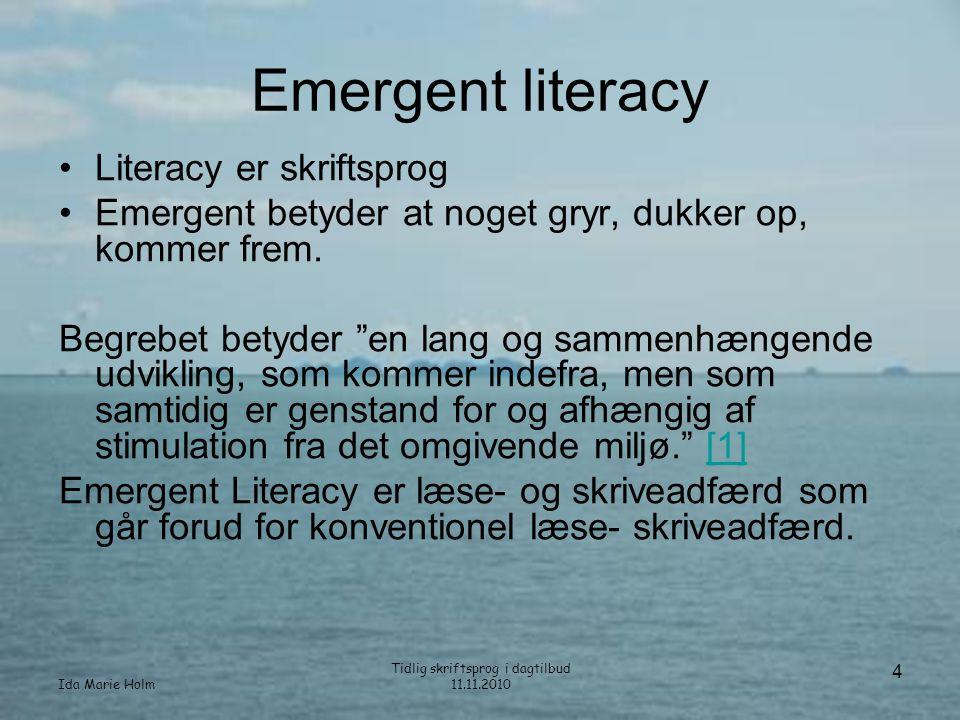 Ida Marie Holm Tidlig skriftsprog i dagtilbud 11.11.2010 5 Opdagende skriftsprog •Dobbelttydning –Barnet er opdagende –Skriftsprogskompetencen dukker op