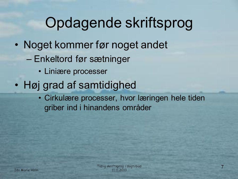 Ida Marie Holm Tidlig skriftsprog i dagtilbud 11.11.2010 18 Billedreportage med fortælling
