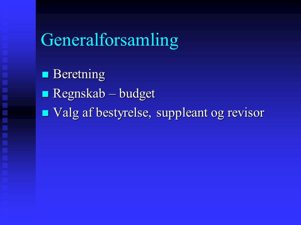 Generalforsamling  Beretning  Regnskab – budget  Valg af bestyrelse, suppleant og revisor