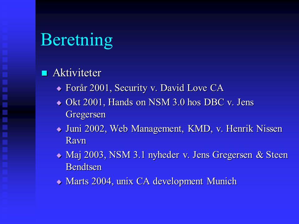 Beretning  Aktiviteter  Forår 2001, Security v.