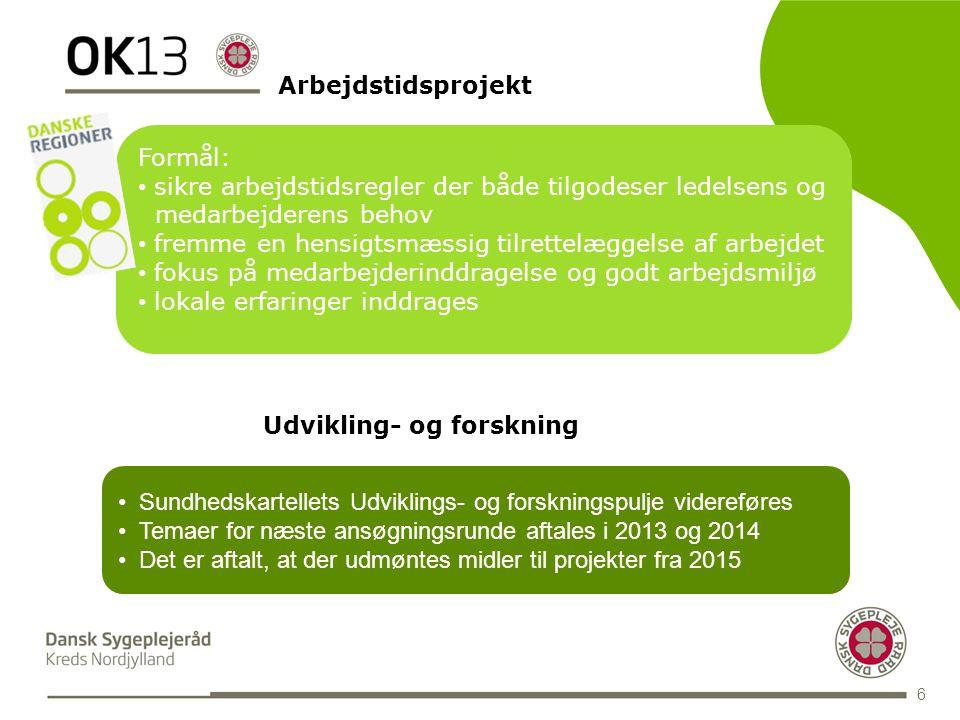 BLANK 6 Arbejdstidsprojekt Formål: • sikre arbejdstidsregler der både tilgodeser ledelsens og medarbejderens behov • fremme en hensigtsmæssig tilrettelæggelse af arbejdet • fokus på medarbejderinddragelse og godt arbejdsmiljø • lokale erfaringer inddrages Udvikling- og forskning • Sundhedskartellets Udviklings- og forskningspulje videreføres • Temaer for næste ansøgningsrunde aftales i 2013 og 2014 • Det er aftalt, at der udmøntes midler til projekter fra 2015