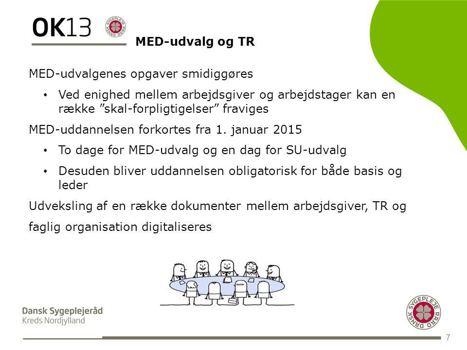 BLANK 7 MED-udvalgenes opgaver smidiggøres • Ved enighed mellem arbejdsgiver og arbejdstager kan en række skal-forpligtigelser fraviges MED-uddannelsen forkortes fra 1.