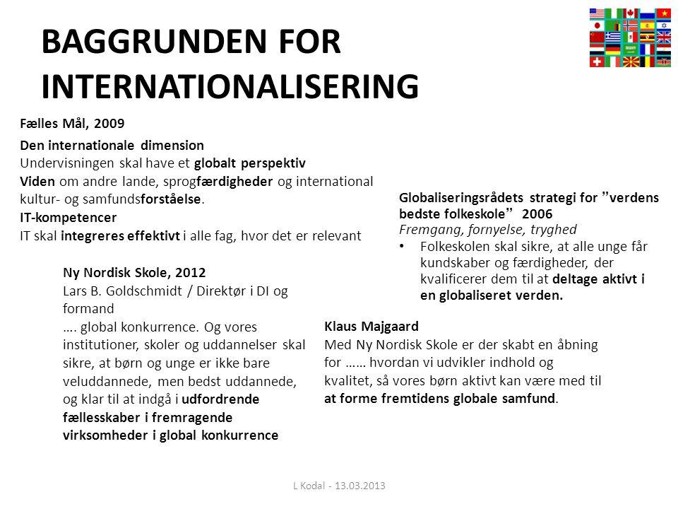 BAGGRUNDEN FOR INTERNATIONALISERING Fælles Mål, 2009 Den internationale dimension Undervisningen skal have et globalt perspektiv Viden om andre lande, sprogfærdigheder og international kultur- og samfundsforståelse.